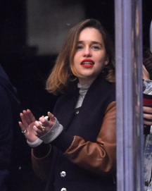 Actress Emilia Clarke attends an NHL hockey game between the Los Angeles Kings and the Anaheim Ducks, Thursday, April 7, 2016, in Los Angeles. The Kings won 2-1. (AP Photo/Mark J. Terrill)
