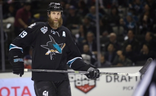 FILE - In this March 24, 2016, file photo, San Jose Sharks' Joe Thornton (19) sakes during the first period of an NHL hockey game against the Edmonton Oilers in San Jose, Calif. Thornton has had a career renaissance at age 36 to help lead San Jose back to the playoffs. (AP Photo/Marcio Jose Sanchez, File)