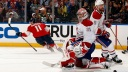 Jonathan Huberdeau #11 of the Florida Panthers celebrates his second goal of the game
