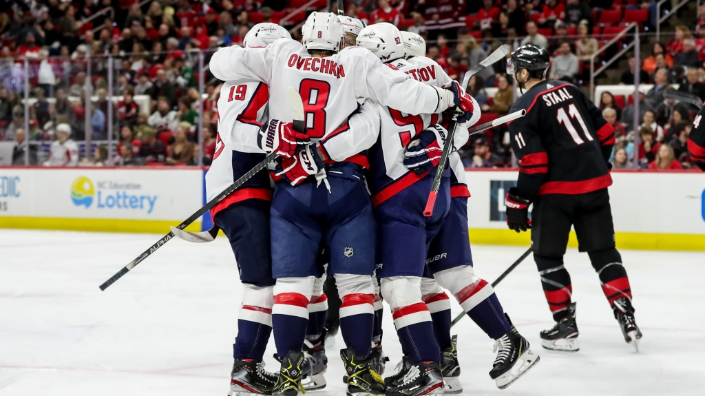 The Washington Capitals celebrate a second period goal