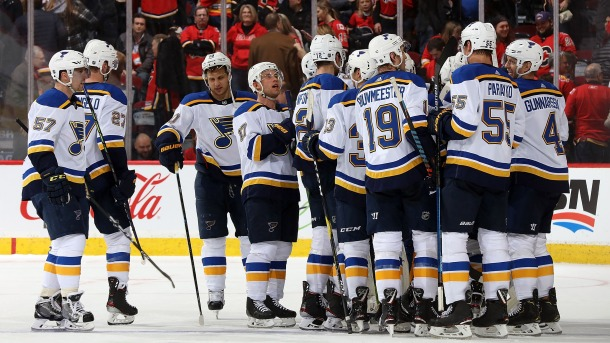The St. Louis Blues celebrate their 5-4 shootout win over the Calgary Flames