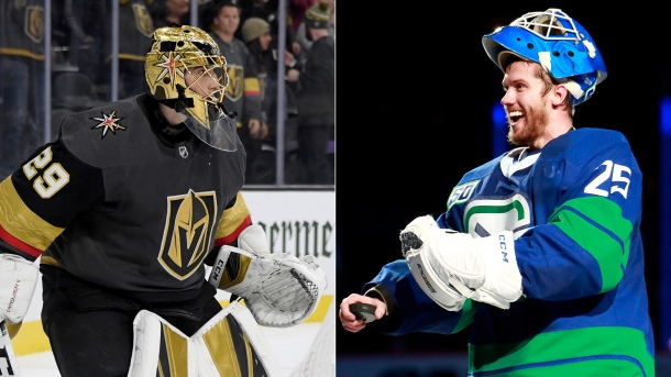 Marc-Andre Fleury of Vegas Golden Knights and Jacob Markstrom of Vancouver Canucks