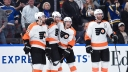 Jakub Voracek #93 of the Philadelphia Flyers is congratulated by teammates