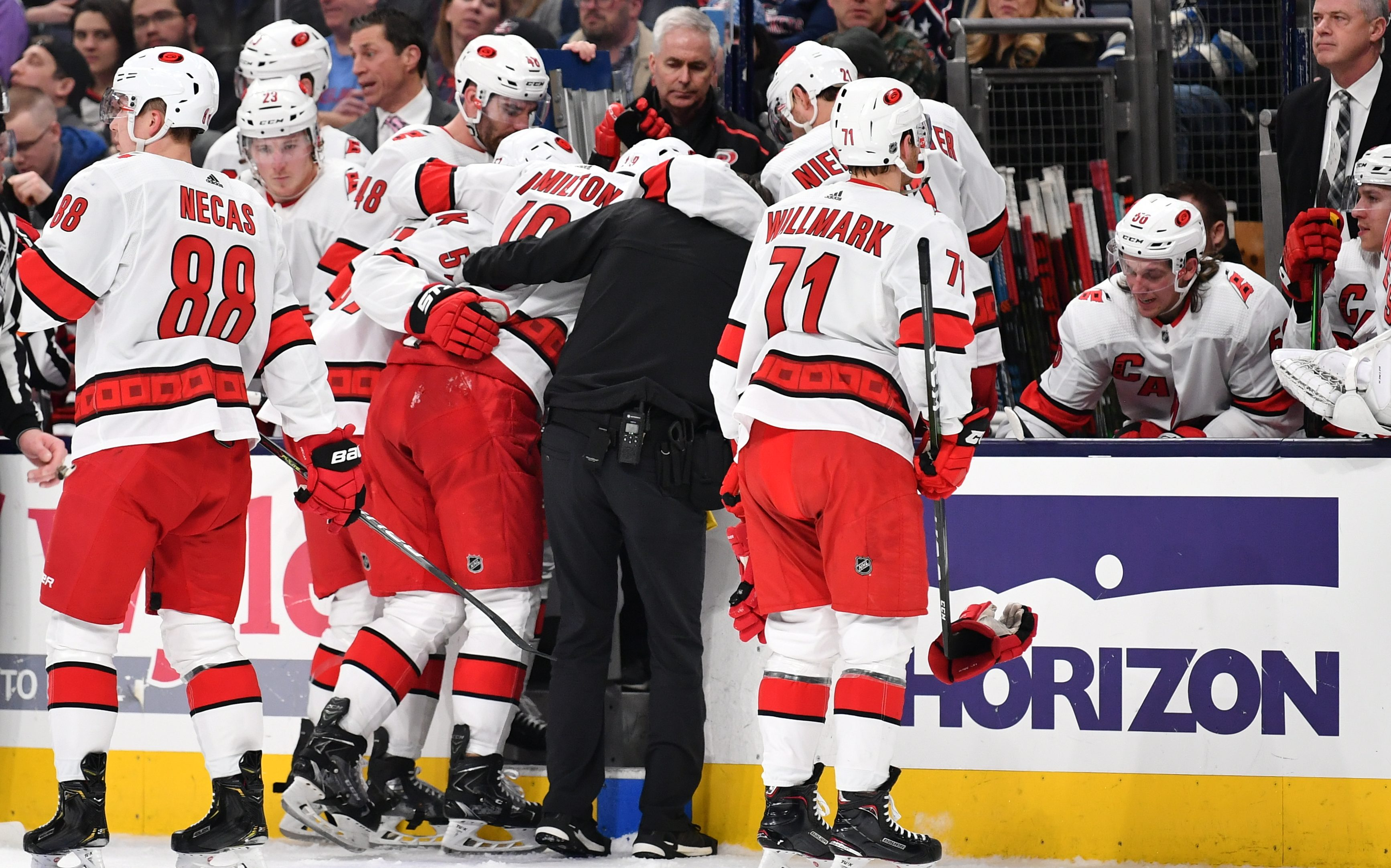 Hurricanes' Hamilton suffers nasty looking leg injury in loss to Blue Jackets