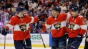 Jonathan Huberdeau #11 of the Florida Panthers celebrates
