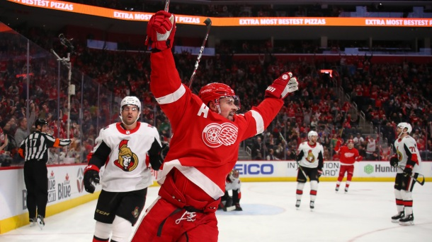 Dylan Larkin #71 of the Detroit Red Wings celebrates