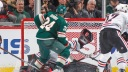 Matt Dumba #24 of the Minnesota Wild scores the game winning goal