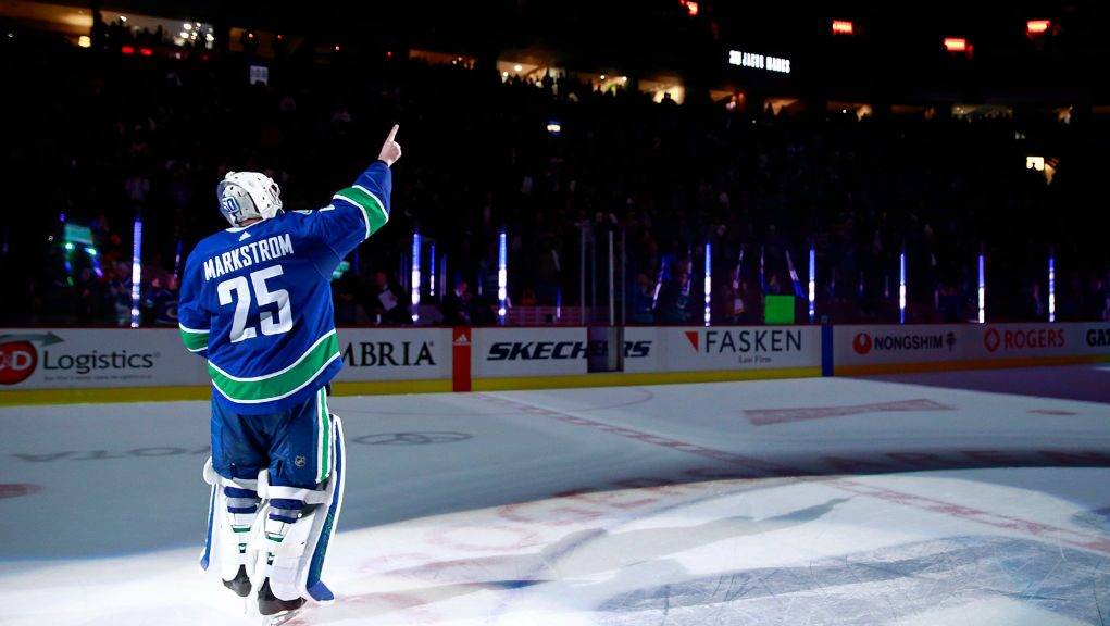 Jacob Markstrom points to retired Sedin twins jerseys