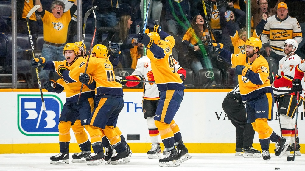 Mikael Granlund #64 of the Nashville Predators celebrates his game tying last second goal
