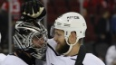 Jack Campbell #36 and Kyle Clifford #13 of the Los Angeles Kings celebrate