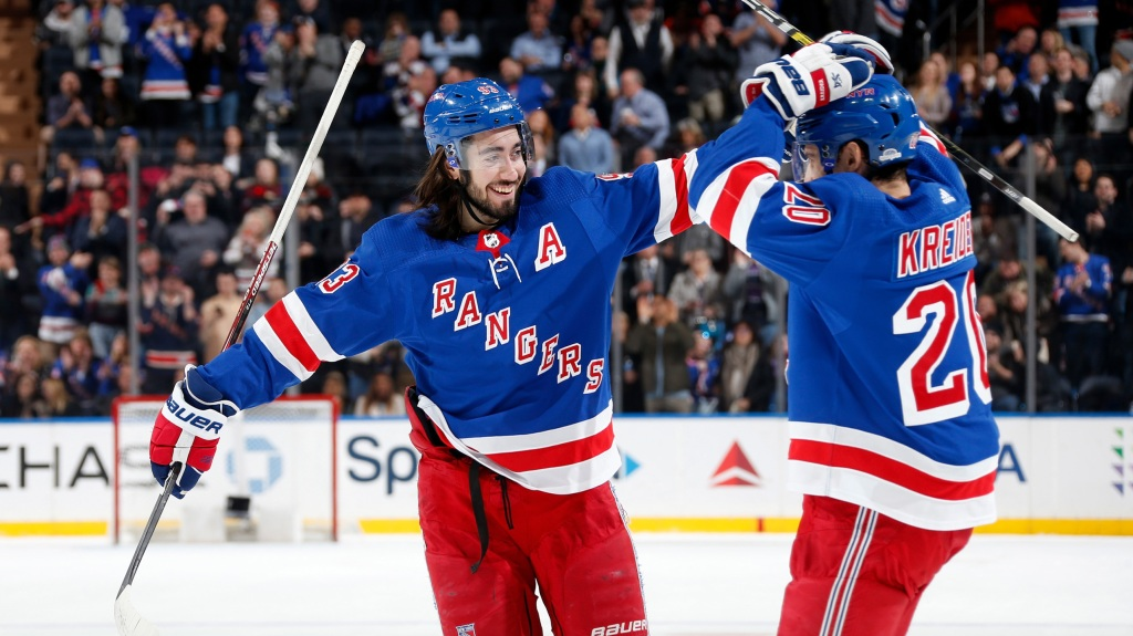 Mika Zibanejad #93 and Chris Kreider #20 of the New York Rangers celebrate