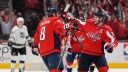 Alex Ovechkin #8 of the Washington Capitals celebrates with Nicklas Backstrom