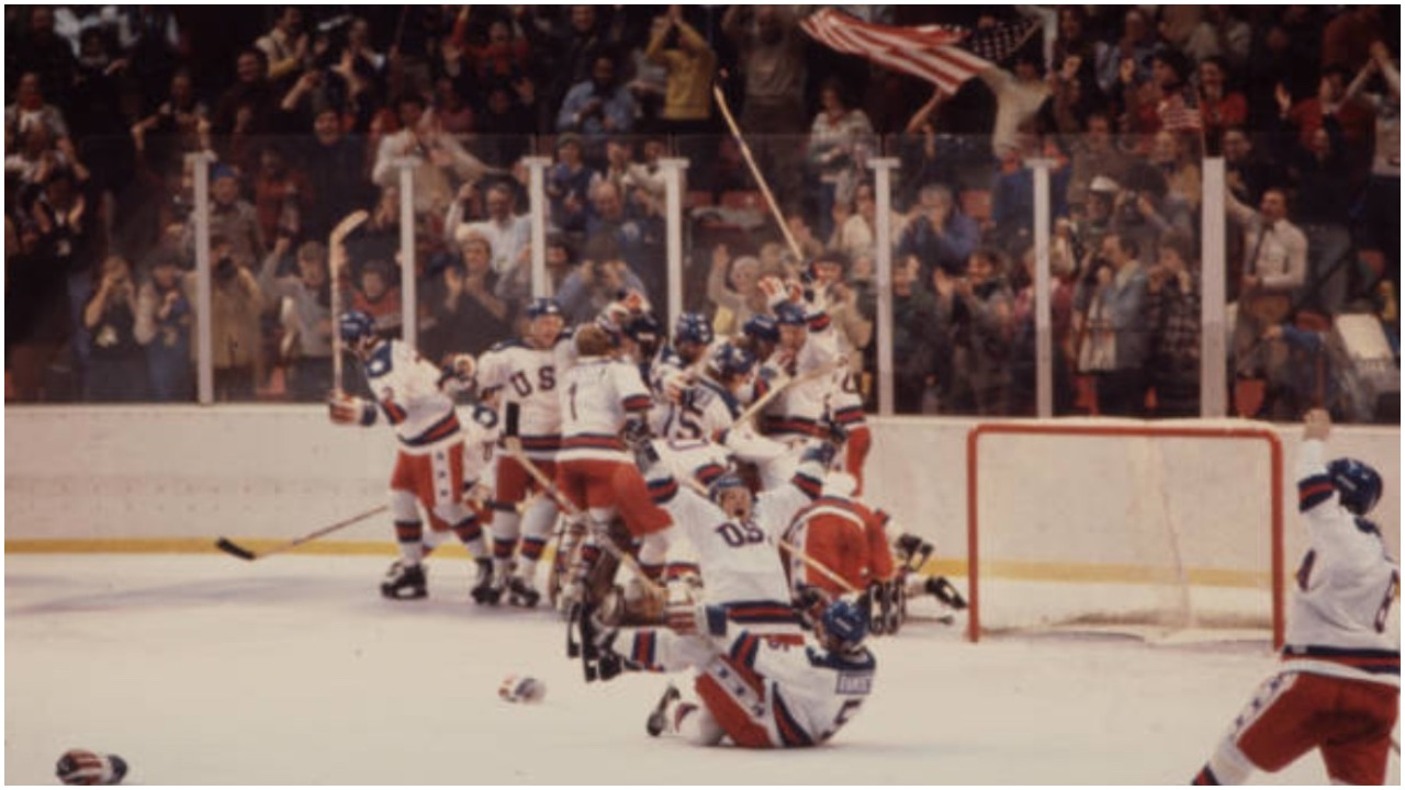 Miracle on Ice celebration Al Michaels