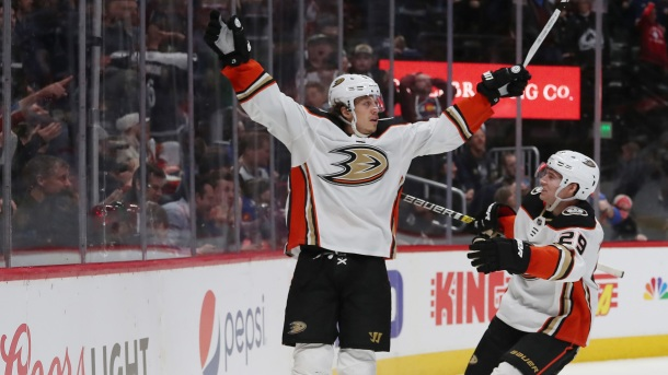 Rickard Rakell #67 of the Anaheim Ducks celebrates a game-winning overtime goal