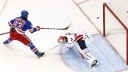 New York Rangers Center Mika Zibanejad (93) scores the game-winning goal,