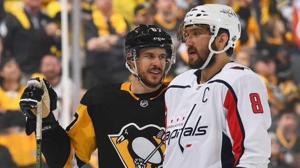 Sidney Crosby of Pittsburgh Penguins and Alex Ovechkin of Washington Capitals