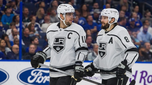 Anze Kopitar and Drew Doughty of the Los Angeles Kings