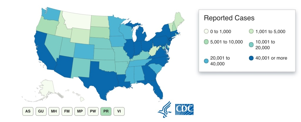 CDC map COVID-19 NHL hub cities Dallas Pittsburgh
