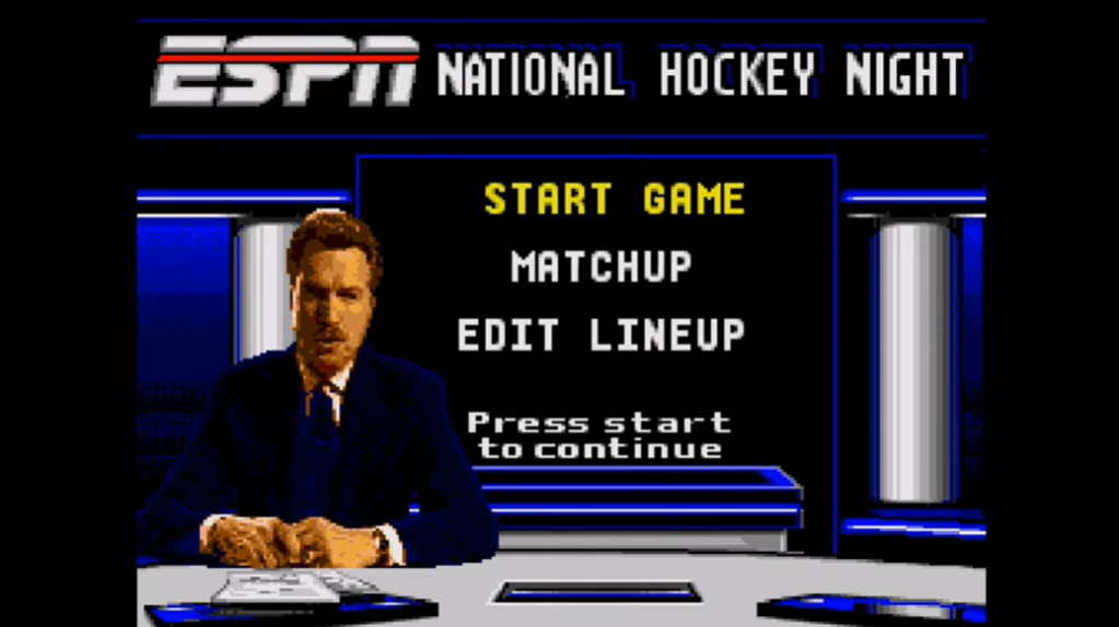 "Bill Clement in ""ESPN National Hockey Night"" Sega Genesis"