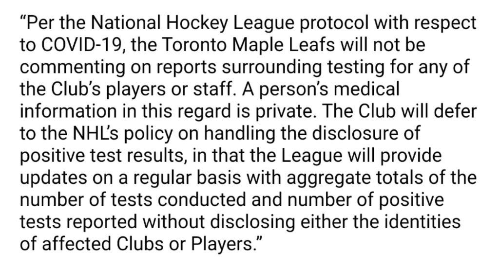 Maple Leafs statement on Auston Matthews COVID-19 report