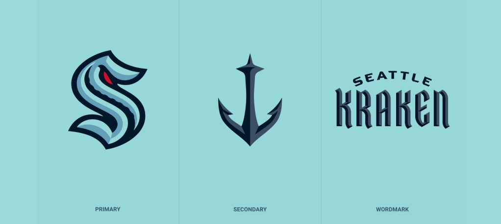 Seattle Kraken logo, color scheme