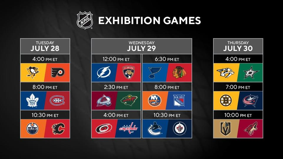 NHL exhibition game schedule 2020 Stanley Cup