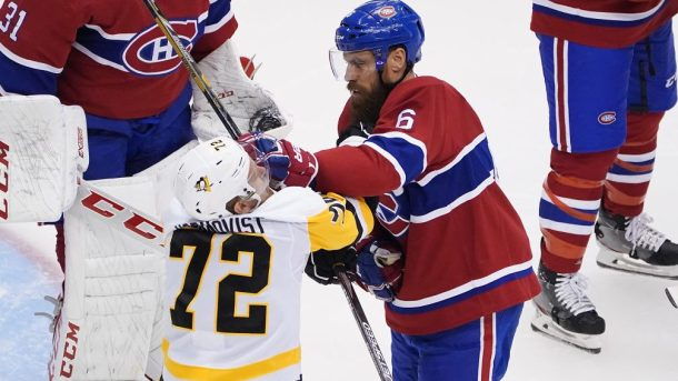 Game 3 upsets NHL scores Penguins Canadiens Shea Weber Blackhawks Round Robin standings
